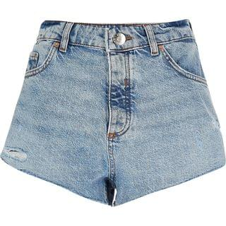 WOMEN Light blue denim high waist hot pant shorts