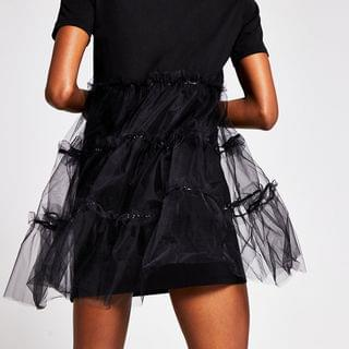 WOMEN Black tulle skirt t-shirt dress