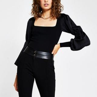 WOMEN Black satin sleeve ribbed top