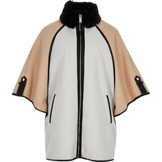 WOMEN Beige light blocked contrast cape