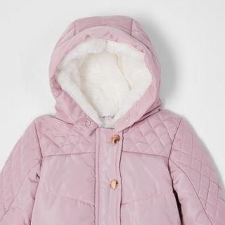 KIDS Baby pink hooded pom snowsuit