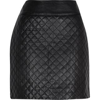WOMEN Black diamond quilted leather skirt