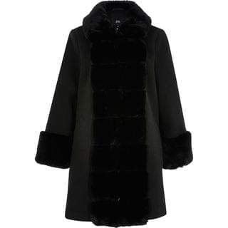 WOMEN Black faux fur panelled swing coat