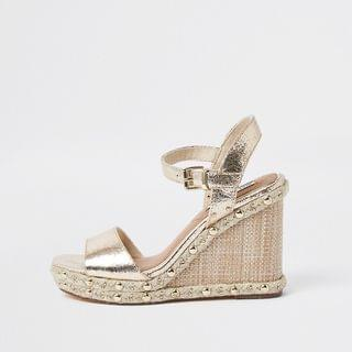 WOMEN Gold Embellished Studded Wedges
