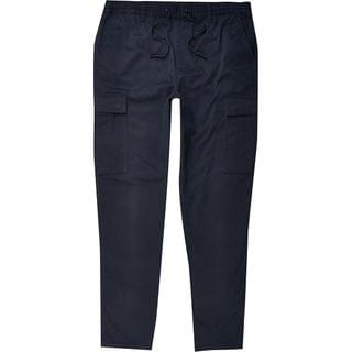 MEN Navy pull on twill skinny fit cargo trousers