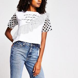 WOMEN White 'See the good' frill sleeve T-shirt