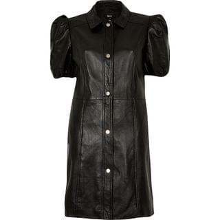 WOMEN Black puff sleeve leather shirt dress
