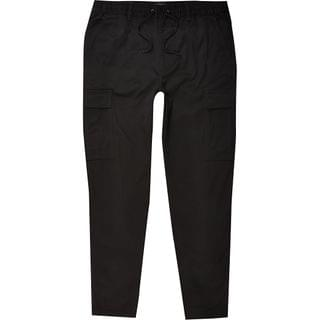 MEN Black pull on twill skinny fit cargo trousers