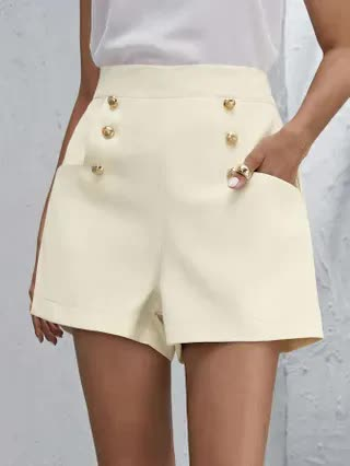 WOMEN Double Breasted Zip Side Suit Shorts