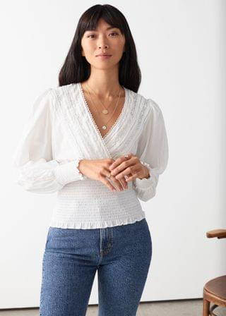 WOMEN Smocked Lace Top