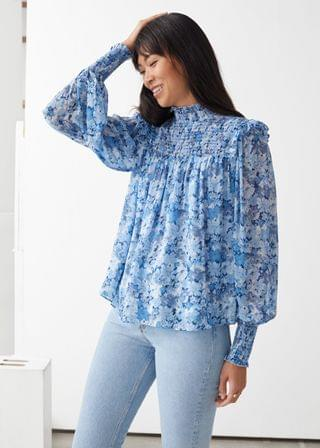 WOMEN Smocked A-Line Blouse