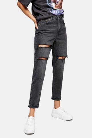 WOMEN Washed Black Peach Mom Tapered Jeans