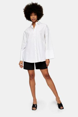 WOMEN **White Extreme Cuff Shirt By Boutique