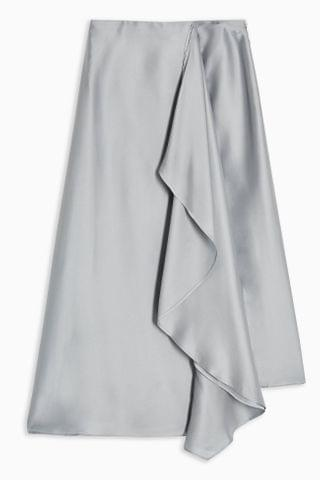 WOMEN **Grey Frill Midi Skirt by Boutique