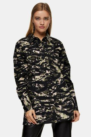 WOMEN Green Camouflage Print Oversized Blouse