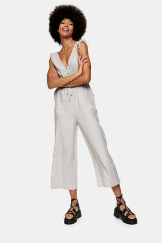 WOMEN Gray Jumpsuit With Linen