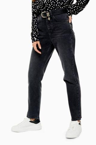 WOMEN Washed Black Fashion Straight Leg Jeans