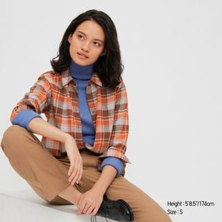 WOMEN Women Flannel Checked Long-Sleeve Shirt
