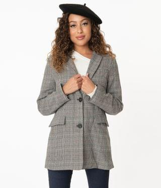 WOMEN Charcoal Grey Glen Plaid Long Blazer