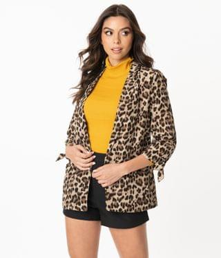 WOMEN Retro Style Leopard Print Everyday Blazer