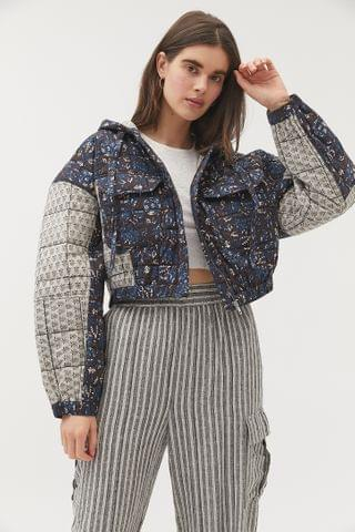 WOMEN UO Quilted Hooded Utility Jacket