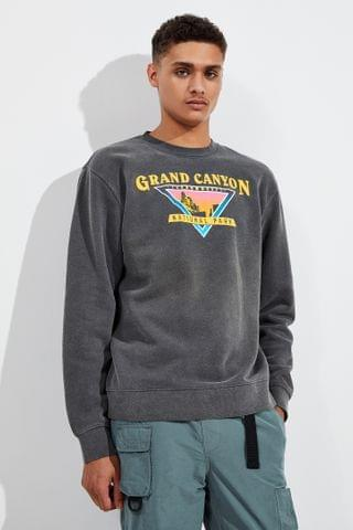 MEN Grand Canyon National Park Puff Ink Pigment Dye Crew Neck Sweatshirt