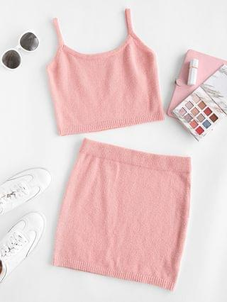 WOMEN Knitted Fuzzy Cropped Two Piece Dress - Light Pink