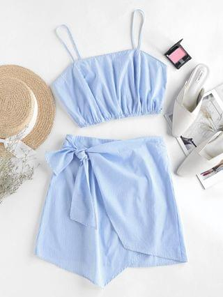 WOMEN Stripes Overlap Knotted Two Piece Dress - Sky Blue Xl