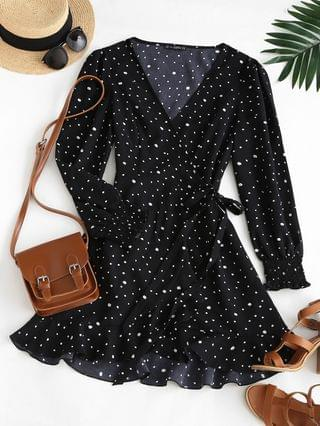 WOMEN Speckled Smocked Cuff Ruffle Wrap Dress - Black S