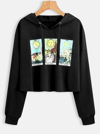 WOMEN Moon Sun And Star Graphic Raw Cut Hoodie - Black M