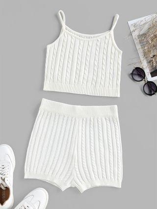 WOMEN Cable Knit High Waisted Sleeveless Pajama Shorts Set - White Xl