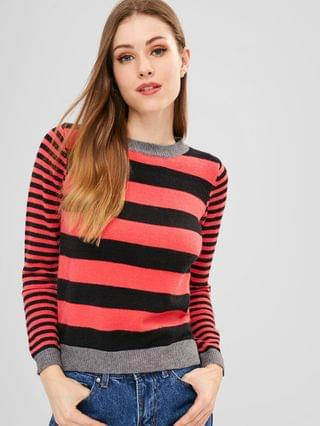 WOMEN Slit Stripes Sweater - Multi