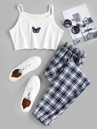 WOMEN Plaid Butterfly Embroidery Two Piece Pants Set - Deep Blue Xl