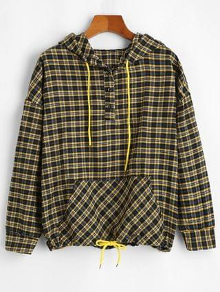 WOMEN Half Buttoned Plaid Front Pocket Hoodie - Multi-a M