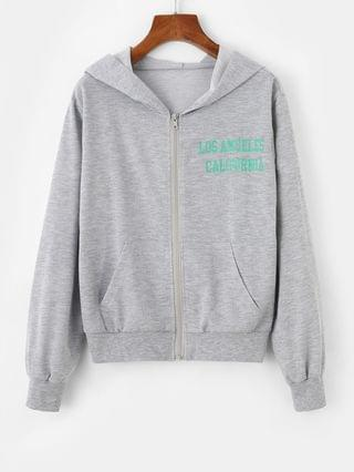 WOMEN Zip Up CALIFORNIA Graphic Pockets Hoodie - Gray Xl
