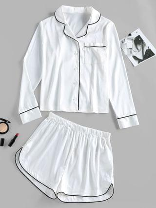 WOMEN Contrast Binding Pocket Satin Pajama Shorts Set - White S