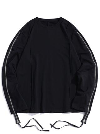 MEN Pure Color Zipper Sleeve Crew Neck Sweatshirt - Black 2xl