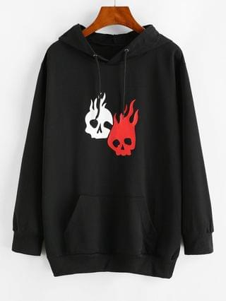 WOMEN Halloween Hot Flame Skull Graphic Hoodie - Black S