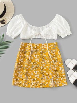 WOMEN Tiny Floral Slit Knotted Two Piece Suit - Bee Yellow L