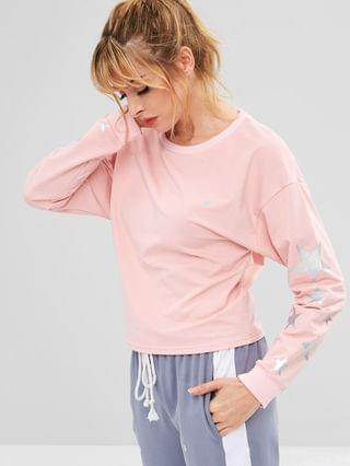 WOMEN Drop Shoulder Star Sweatshirt - Light Pink S