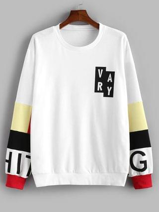 MEN Casual Letter Pattern Color Blocking Sweatshirt - White 2xl