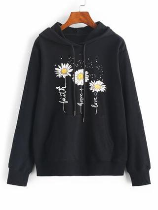 WOMEN Flower Slogan Graphic Kangaroo Pocket Hoodie - Black L
