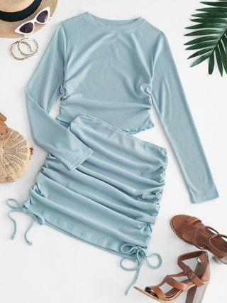 WOMEN Gathered Crop Top And Bodycon Skirt Two Piece Sets - Peacock Blue S