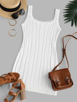 WOMEN Cable Knit Bodycon Tank Sweater Dress - White S