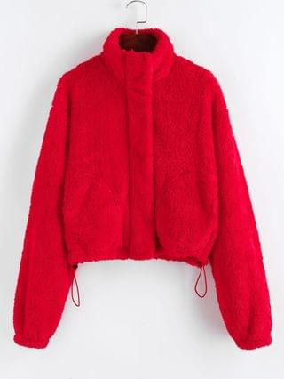 WOMEN Christmas Faux Shearling Zip Fluffy Pocket Coat - Ruby Red L