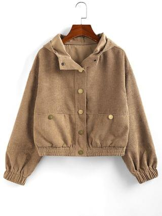 WOMEN Hooded Corduroy Jacket - Brown Sugar L