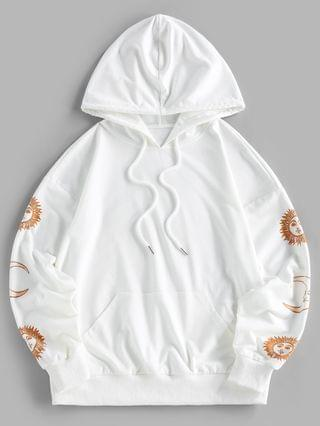 WOMEN Sun Moon Print Drop Shoulder Pocket Hoodie - White L