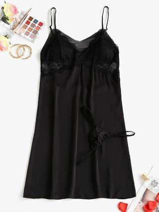 WOMEN Padded Lace Mesh Panel Satin Sleep Dress - Black