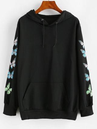 WOMEN Graphic Butterfly Kangaroo Pocket Hoodie - Black L