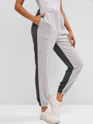 WOMEN French Terry Bicolor Jogger Pants - Gray M